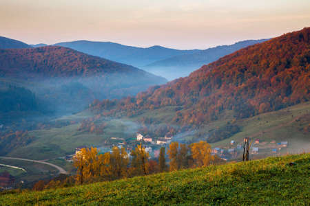 stunning rural landscape. foggy scenery at sunrise in autumn season. trees on mountain hills in colorful foliage. village in the valley