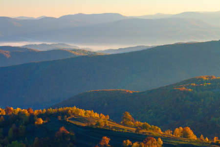 misty sunrise in mountains. wonderful autumn weather. beautiful nature scenery observed from the top of a hill. trees in colorful fall foliage. fog glowing in the distant valley Stock Photo