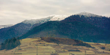 cold gloomy autumn morning in mountains. overcast sky above ridge with snow capped peaks. november scenery of carpathian rural area