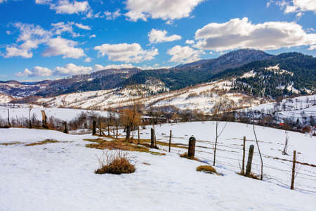 mountainous rural landscape on a sunny winter day. fields and trees on rolling hills covered in snow. fluffy clouds on the sky. beautiful carpathian landscape Stock Photo