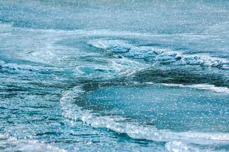 icy surface of frozen river. beautiful wet nature texture