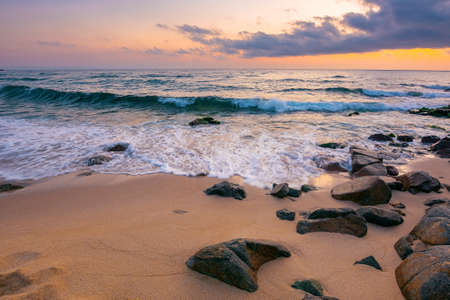 sea landscape at dawn. rocks on the sandy beach. clouds on the sky. summer vacation concept