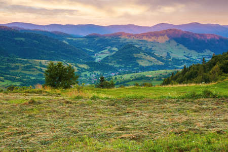 mountainous rural landscape at dawn. grassy meadow on top of a hill. clouds above the ridge. view in to the distant valley Stock Photo