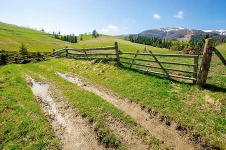 rural landscape in mountains. wooden fence along the path through grassy fields on rolling hills. snow capped ridge in the distance beneath a blue sky. beautiful nature scenery on a bright sunny day