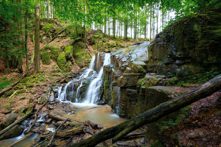 wild waterfall skakalo in spring. scenic travel destination of mukachevo region transcarpathia, ukraine. cold water fall out of the rock. concept of beauty and freshness in nature Stock Photo
