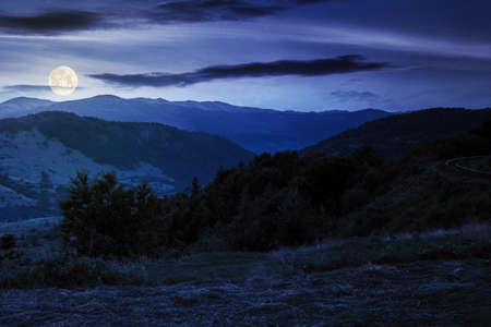 mountainous rural landscape at night. grassy meadow on top of a hill. clouds above the ridge in full moon light. view in to the distant valley