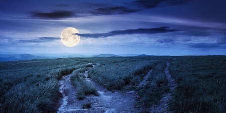 path through green grassy mountain meadow at night. beautiful summer landscape in full moon light. fine weather with fluffy clouds on the blue sky