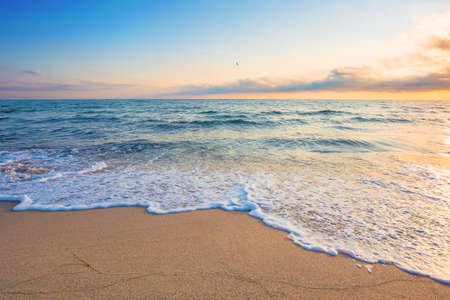summer vacation at the seaside. beautiful seascape at sunrise. calm waves wash the golden sandy beach. fluffy clouds on the sky Stock Photo