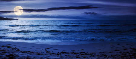 summer vacation at the seaside at night. beautiful seascape in full moon light. calm waves wash the golden sandy beach. fluffy clouds on the sky