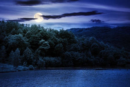 lake among mountain landscape in spring at night. beautiful countryside scenery with forest on the shore in full moon light. clouds on the sky