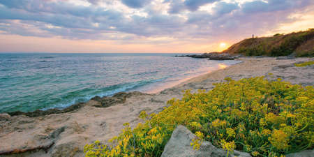 summer vacation landscape by the sea at sunrise. calm water washes sandy beach. dramatic clouds above horizon in morning light on the sky Stock Photo