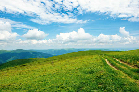 country road through alpine meadow of carpathian mountain. beautiful nature landscape in summer. scenery with open view in to the distant ridge and valley. wonderful sky with clouds above the horizon Stock Photo