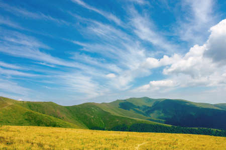 mountain landscape in summer. grassy meadows on the hills rolling in to the distant peak beneath a sky with clouds