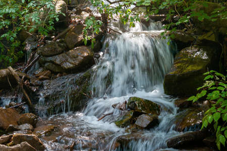 stream among the stones in the forest. water flows down the small cascades. wonderful nature background. freshness concept