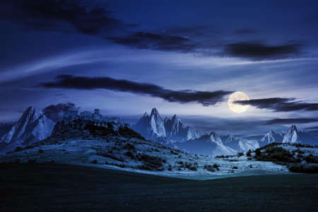 castle on the hill at night. composite fantasy landscape. grassy meadow in the foreground. rocky peaks of the ridge in the distant background in full moon light