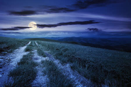 country road through alpine meadow at night. beautiful nature landscape in summer. scenery with open view in to the distant ridge and valley in full moon light. sky with clouds above the horizon Stock Photo