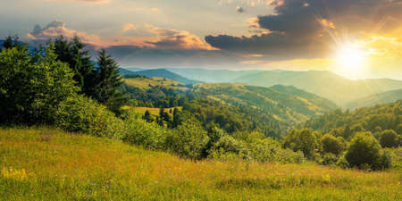 countryside landscape in summer at sunset. beautiful nature scenery with meadows on the hills rolling in to the distant valley in evening light