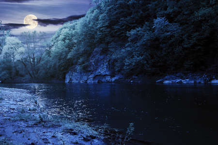 river flow under the rock at night. beautiful nature landscape in spring. deciduous trees on the shore in full moon light