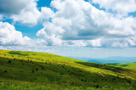 summer landscape in mountains. beautiful view of rolling hills beneath a wonderful sky with white fluffy cumulus clouds.. calmness and relaxation concept