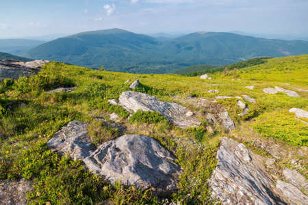 carpathian mountain landscape on bright forenoon. stunning view in to the distance in morning light