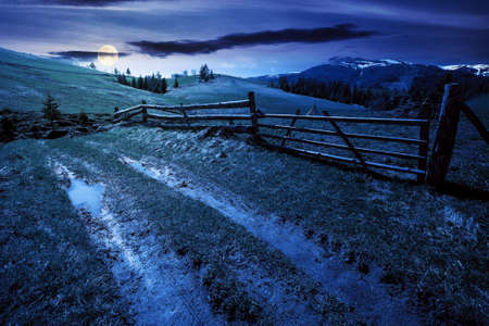 mountainous rural landscape at night in spring. path through grassy field. wooden fence on rolling hills. snow capped ridge in the distance. wonderful countryside scenery in full moon light Stock Photo