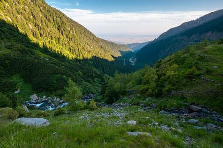 balea stream of fagaras mountains. wonderful summer scenery in the morning. popular travel destination of romania