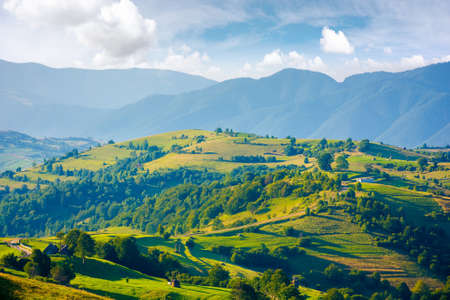 mountainous countryside landscape. hill with trees on rural fields rolling in to the distant ridge beneath a bright sky with clouds. wonderful summer scenery in morning light