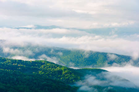 summer landscape on a foggy morning. amazing mountain view in the distance. scenic outdoor scenery. beautiful nature environment background. clouds on the sky above horizon Stock Photo