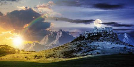 Illustration day and night time change concept above the castle on the hill. composite fantasy landscape. grassy meadow in the foreground. rocky peaks of the ridge in the distant background with sun and moon