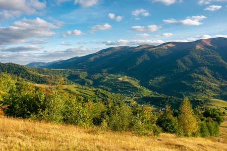 rural landscape in evening light. beautiful countryside scenery of carpathian mountains. trees, fields and meadows on the hills. village down in the distant valley. september sky with fluffy clouds