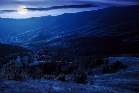 rural landscape at night. beautiful countryside scenery of carpathian mountains in full moon light. trees, fields and meadows on the hills. village down in the distant valley