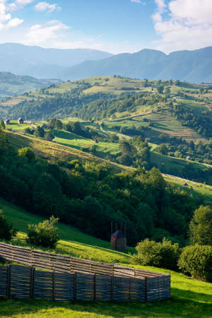 rural landscape in morning light. wonderful countryside scenery of carpathian mountainsin summer. trees, fields and fence on the hills. bright blue sky with fluffy clouds above the distant ridge