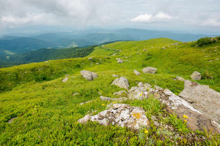 green nature landscape in mountains. beautiful travel background in summer. stones on the grassy hills rolling in to the distant ridge beneath a cloudy sky