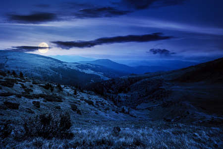 carpathian mountain landscape at night. beatiful scenery with green rolling hills in full moon light beneath a clouds on a dark sky in summer. popular travel destination of chornohora ridge Stock Photo