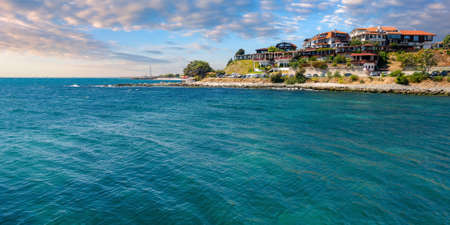 old town of nessebar, bulgaria. beautiful resort place on the black sea at sunrise. popular travel destination in morning light Stock Photo