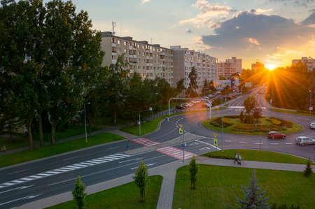 poprad, slovakia - AUG 26, 2016: cityscape of slovakian town in tatra mountans at sunset. popular travel destination Editorial
