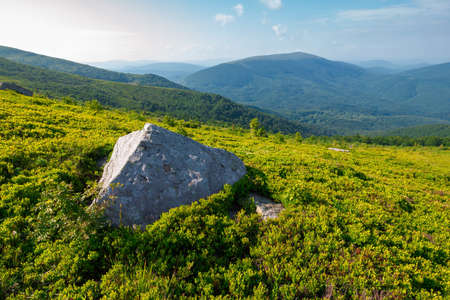Carpathian mountain landscape on bright forenoon. stunning view in to the distance in morning light Stock Photo
