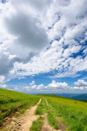 mountain landscape on a sunny day. trail through grassy meadow. beautiful travel scenery. ridge in the distance beneath a blue sky with stunning cloudscape.