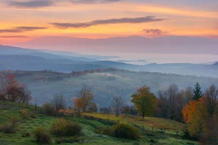 autumnal rural landscape. beautiful nature scenery with foggy valley and glowing sky at sunrise. trees in colorful foliage and fields on hills in morning light