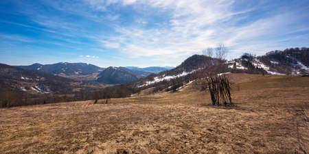 winter countryside landscape in mountains. sunny weather and low amount of snow. global warming concept