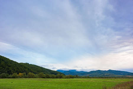 rural field in mountains at dawn. cloudy early autumn weather Stock Photo