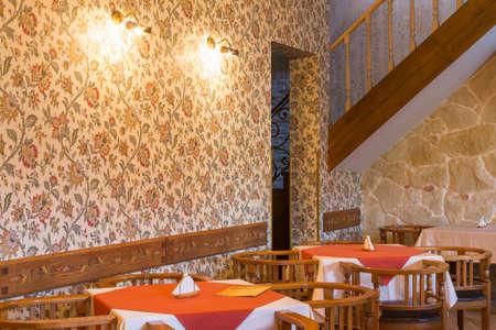 empty restaurant interior. classic design with wooden furniture Stock Photo