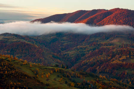 transcarpathian rural landscape at sunrise. countryside scenery of carpathian mountains in autumn. trees and fields on rolling hills. clouds and mist glowing in the morning light Stock Photo