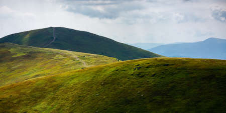 rolling hills of borzhava mountains. path through thetop of the ridge. beautiful nature scenery with grassy slopes in dappled light. wonderful summer landscape of ukrainian carpathians on a sunny day