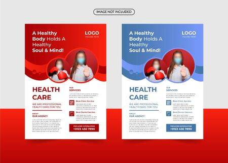 Medical care and hospital flyer template