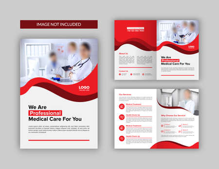 Medical Bi-fold Brochure Template. Multipurpose template with cover, back and inside pages. 일러스트