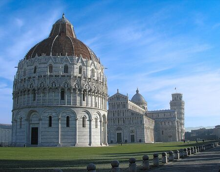 pious: Pisa Basilica and Tower. Picture is made at winter during touristic trip to one of Italic historical sights