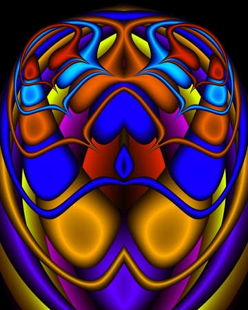 A fractal image in the form of an Egyptian scarab in royal tones