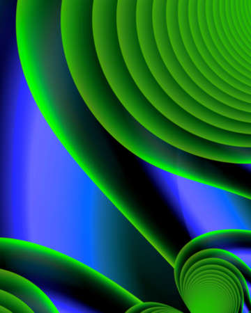 Fractal image of green swirls on blue Imagens
