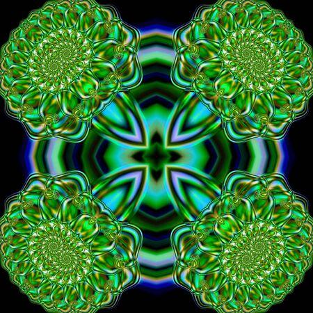 Abstract fractal tile design resembling chrysanthemums